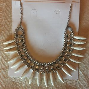 Silver & White Statement Necklace Costume Jewelry